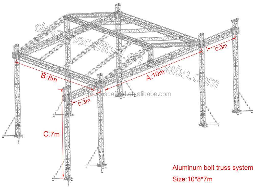 Aluminum Stage Truss Speaker Lift Truss System For Concert