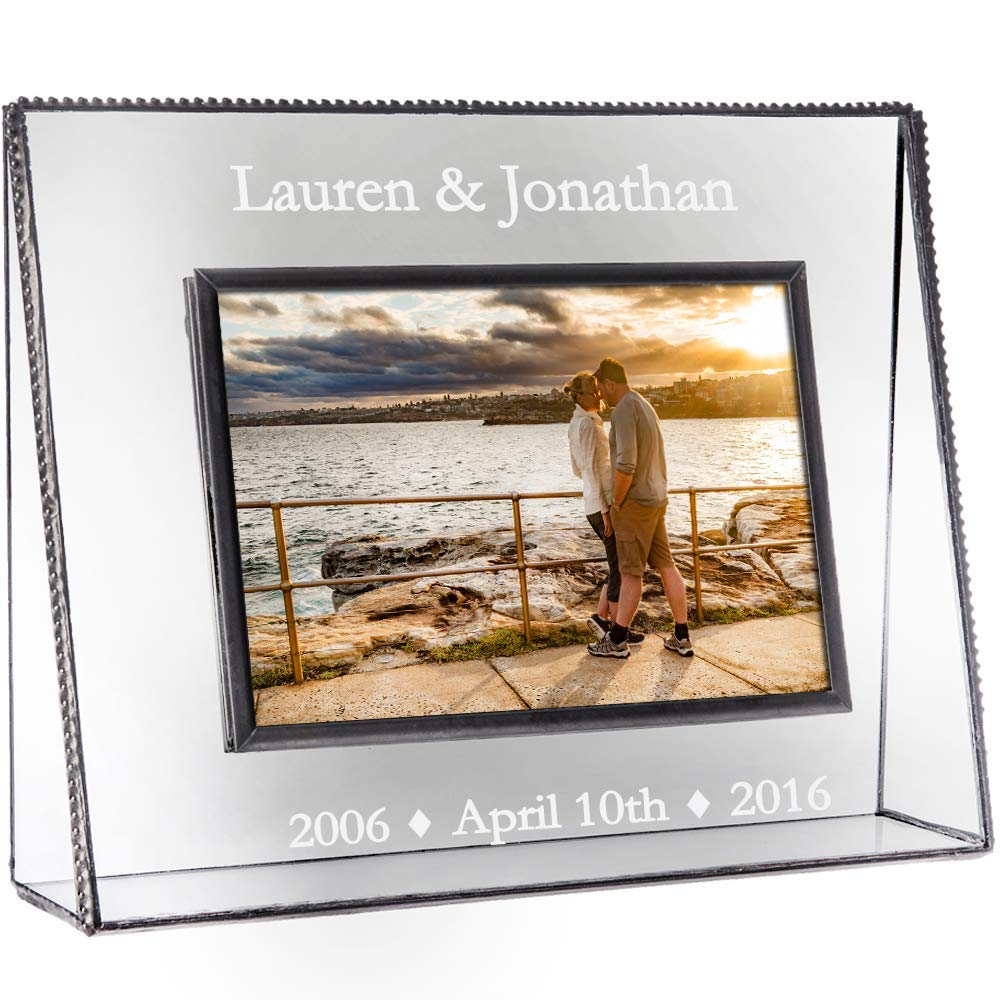 J Devlin Pic 319-46H EP549 Clear Glass Picture Frame Personalized Anniversary Engraved Glass 4x6 Horizontal Landscape Photo Frame 1st 5th 10th 15th 20th 25th 30th 40th 50th Anniversary Keepsake Gift