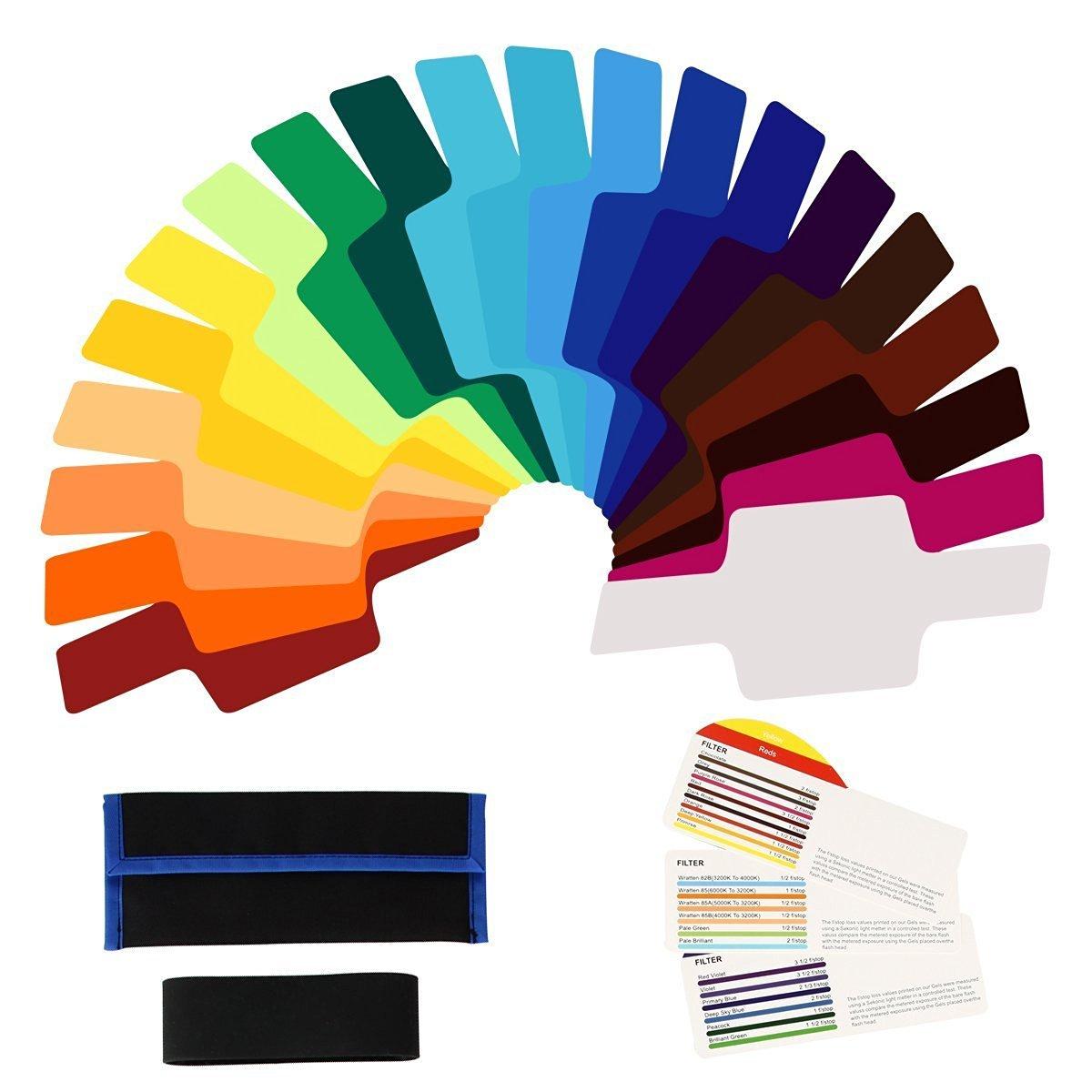 20pcs Universal Lighting Flash Camera Speedlite Speedlight Color Gels Filter for Canon 600EX 580EX Yongnuo YN568EXII/YN565EXII/YN560III/YN460 DC657