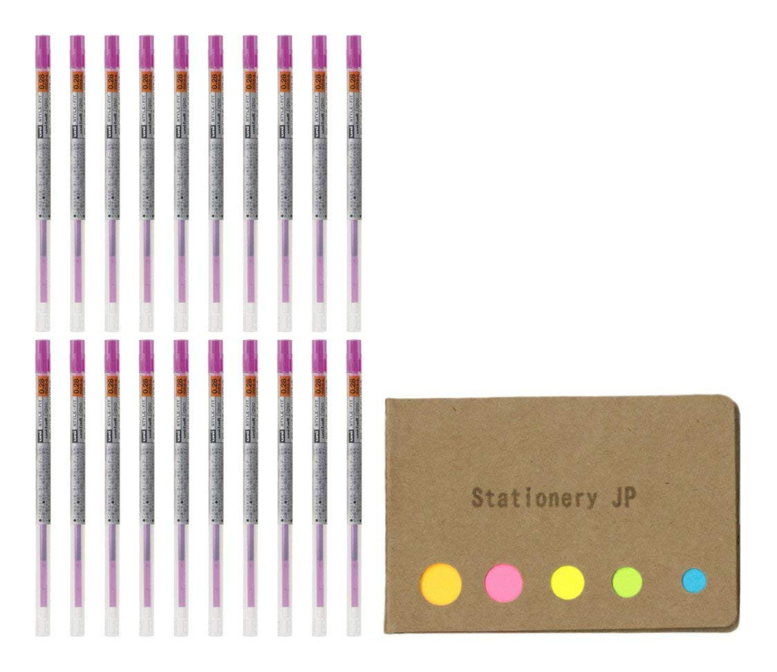 Uni-ball Signo Gel Ink Refills for Uni Style Fit Gel Multi Pen 0.28mm Pink Ink, 20-pack, Sticky Notes Value Set