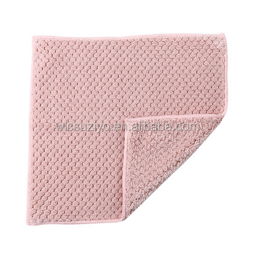 Wholesale Kitchen Restaurant Coral Velvet Oil-free Thick Cleaning Dish Cloth Bowl Wipe Washing Towel