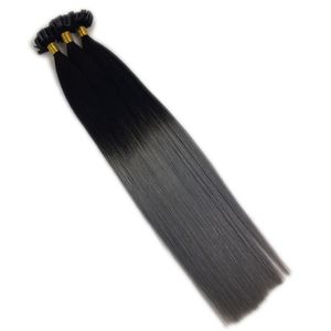 Cheap 100% virgin remy full cutilce 1g strands ombre u tip hair extensions