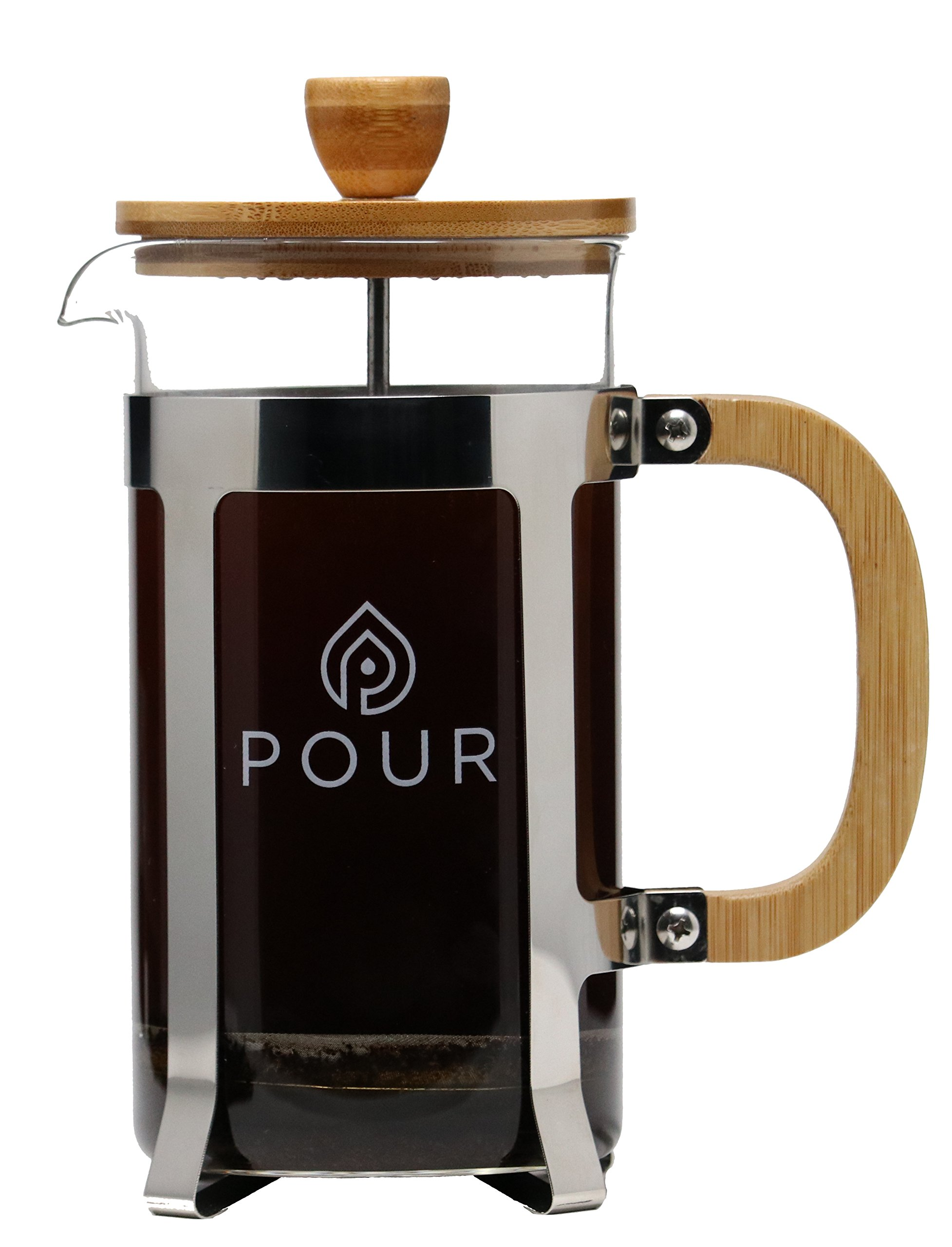 Pour French Press Coffee Maker, Thick Borosilicate Glass, Bamboo Lid, and Stainless Steel Filter, Eco-Friendly Coffee Brewing – Dishwasher Safe - for Grounds and Loose Tea 36oz./1000M