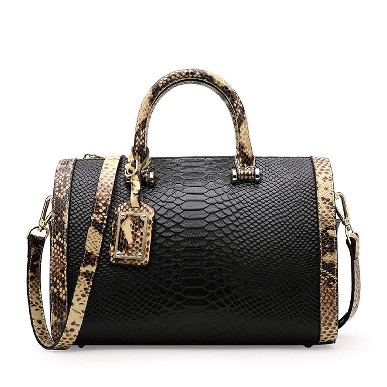 7ebd8e80606 Get Quotations · Elegant Snake Pattern Boston Handbags Cowhide Shoulder Bag