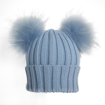 dc400ceb015 Myfur Baby Blue Wool Crochet Knitted Hats with Double Removable Raccoon Fur  Balls