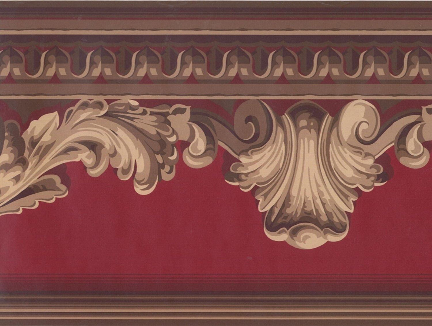 Get Quotations Gold Crown Molding Maroon Scarlet Red Wallpaper Border Retro Design