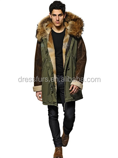 casual parka jackets rex <strong>rabbit</strong> lining with raccoon fur hooded trim and real fur sleeve with sheep wool lining inside