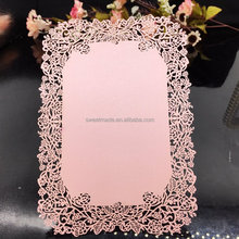 Rose frame pink lace wedding invitation card