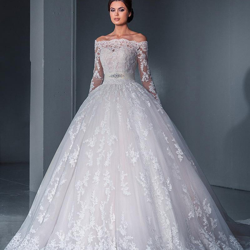 Long Sleeve Lace Wedding Dress Lace Ball Gown Vintage: Vintage 2016 Ball Gown Wedding Dress Sexy Off The Shoulder