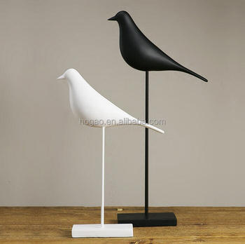 Polyresin Handicrafts Black White Bird Figurines Decoration