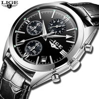 LIGE luxury Men's Chronograph Watch Luxury Type Leather Strap Material And Men Quartz Wrist Watches