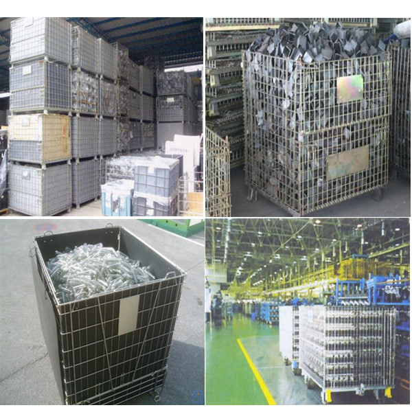 Collapsible galvanized cage mesh crate waste bins of european wire cage for pallet rack buy - Collapsible trash bins ...