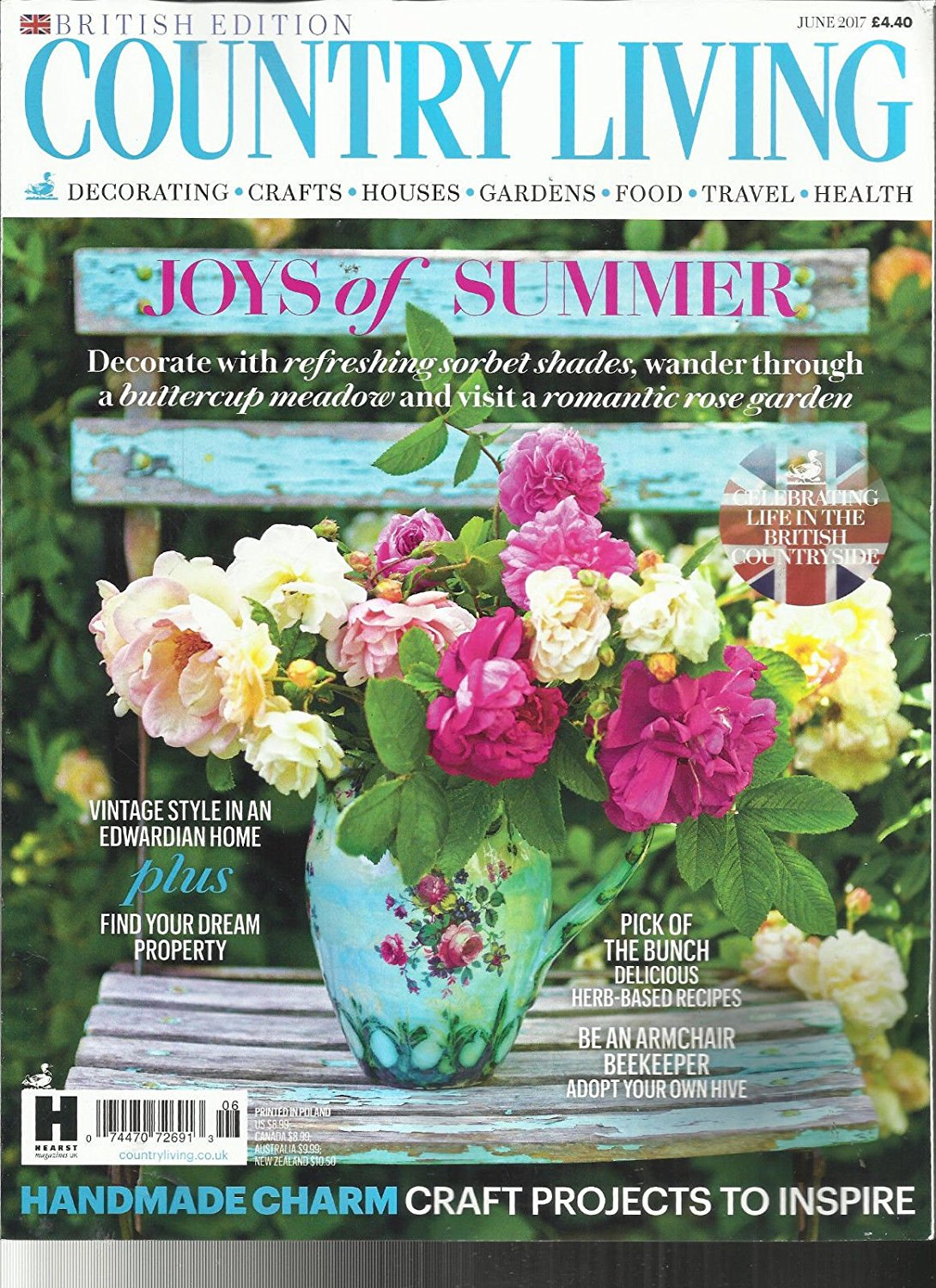 COUNTRY LIVING MAGAZINE, JUNE, 2017 BRITISH EDITION JOYS OF SUMMER