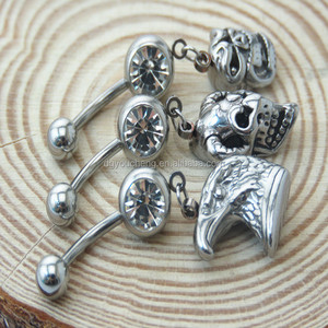 Belly button ring Skull Skeleton Body piercing Navel jewelry 14G surgical steel