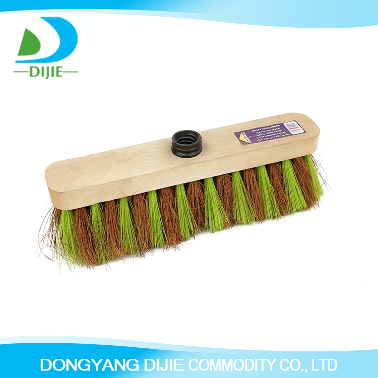 Economic wooden broom head floor hard bristle broom balai coco