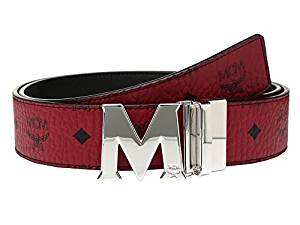 MCM Claus Reversible Silver Buckle Belt Ruby Red Men's Belts