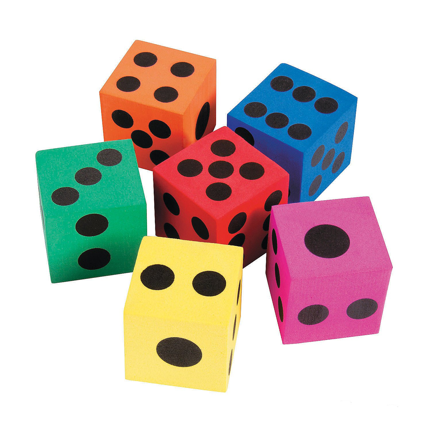 """Kidsco Big Foam Dices - Pack of 12 - 1.5"""" Square, Assorted Colors - Great for Playing Games - for Kids Boys and Girls Party Favors, Bag Stuffers, Fun, Toy, Gift, Prize, Piñata Fillers"""