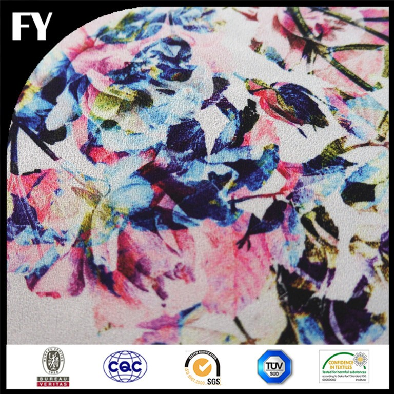 FY Factory Direct New Design Colourful digital print fabric pure silk