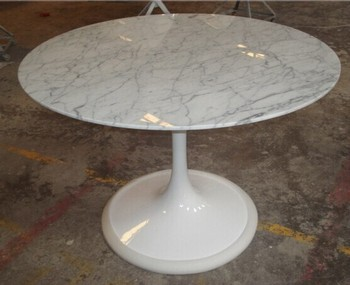White Fiberglass And Marble Corner Table For Living Room