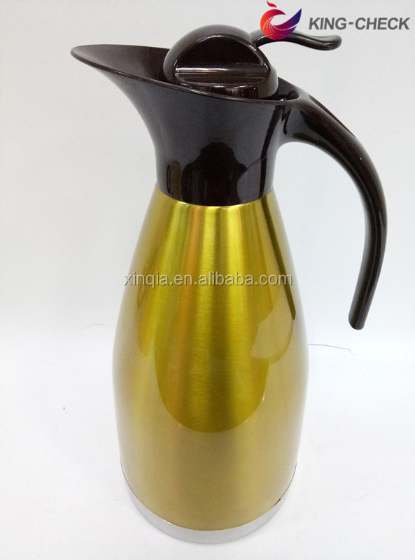 Metal 201 stainless Steel Blue yellow silver color 2 Litre Vacuum Flask Coffee Pot, induction coffee pot