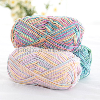 Import wholesale cotton and acrylic blend dk weight hand knitting wool yarn for baby with multi colors