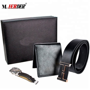 Manufacture wholesale cheap hot sell watch mens wallets belt gift sets