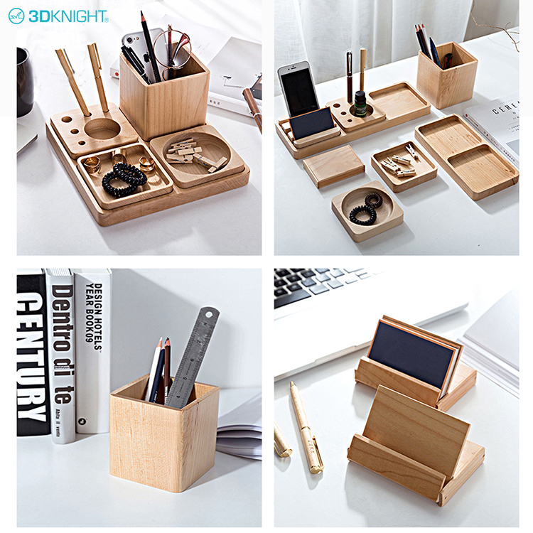Fashion Home Office Wooden Multi-function Desk Stationery Organizer Storage Box