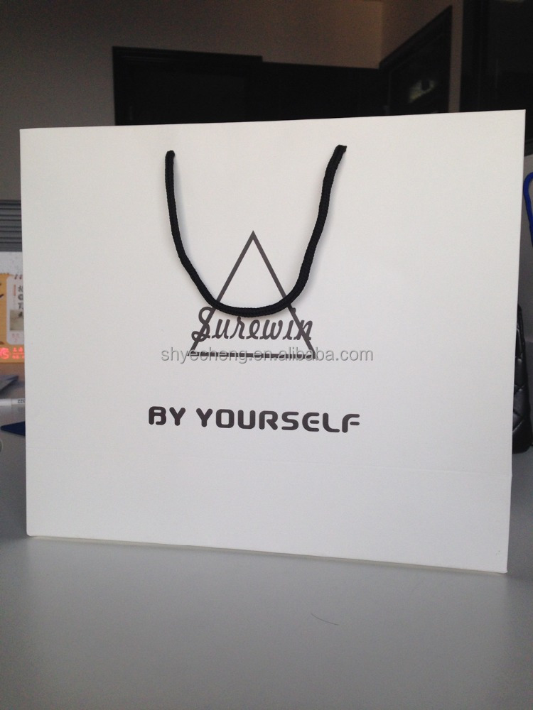 OEM offset printed white paper shopping bag/gift bag with logo for garment (YC3110)