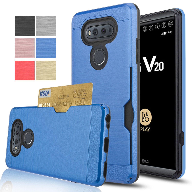 LG V20 Case,AnoKe [Credit Card Slots Holder][Not Wallet] Hard Plastic PC TPU Soft Hybrid Shockproof Heavy Duty Protective Holster Cover Case For LG V20 2016 KC2 Navy Blue