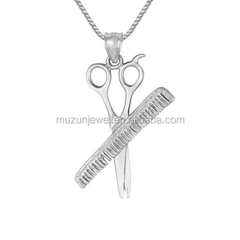 stylist jewelry 925 sterling silver comb scissors pendant necklace