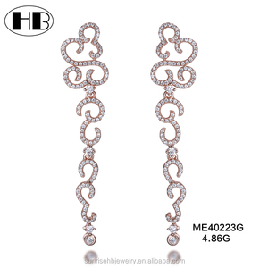 Fashion American And Europian Style Fancy Hanging Make Earring Studs With Inlaying Small Magnetic CZ Diamonds