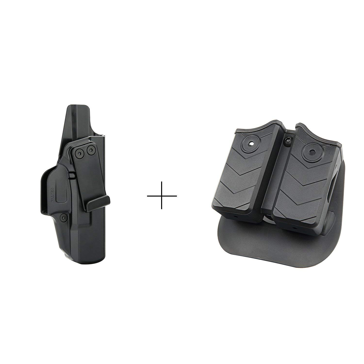efluky Double Mag Pouch OWB + Concealed Holster IWB Carry RH, Glock Holster Kit for Glock 19 19X 23 26 27 32 33(Gen1-4), Fits 9mm .40 Caliber