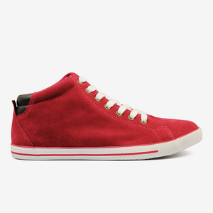 China Red Fake Cow Suede Hi-tops Shoes