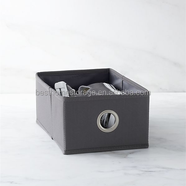 Non woven Office Small Storage Box With Grommet Handle Grey File Organizer Bin