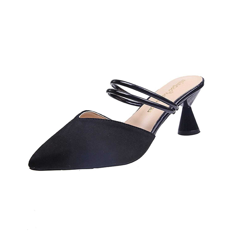 LYLIFE Women's Vintage Mini Square Toe High Heel Mules Shoes