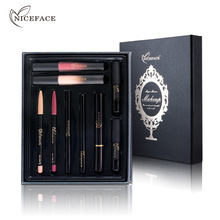 NICEFACE Kosmetik Gesicht Make-Up Set kit Wimpern Mascara Eyeliner Augenbrauenstift mit Pinsel Lip Liner Matt Flüssigen <span class=keywords><strong>Lippenstift</strong></span> Stift