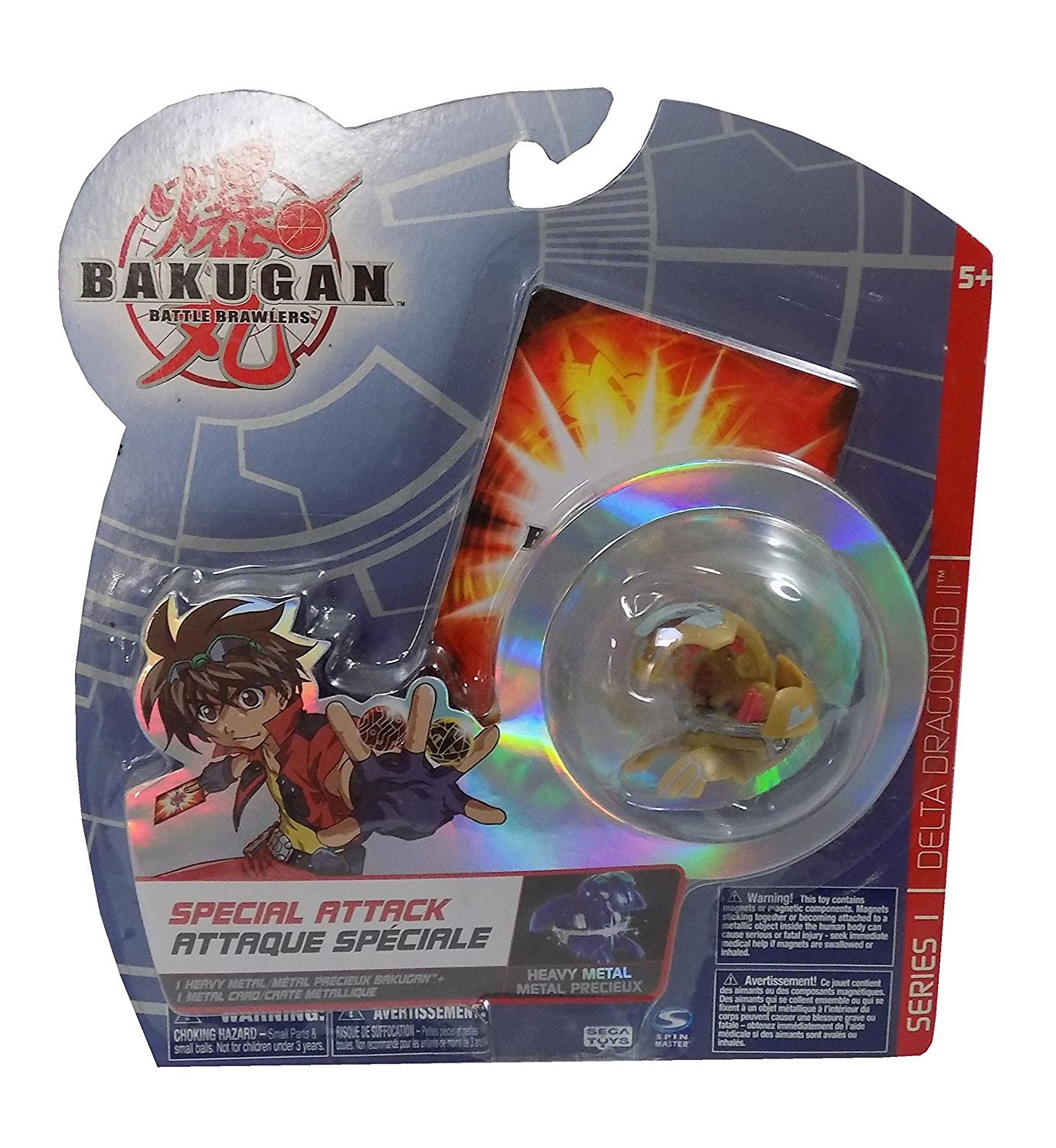 Delta Dragonoid II Evolved Heavy Metal Special Attack Olive Green Bakugan Battle Brawlers Figure with Metal Card by Spin Master