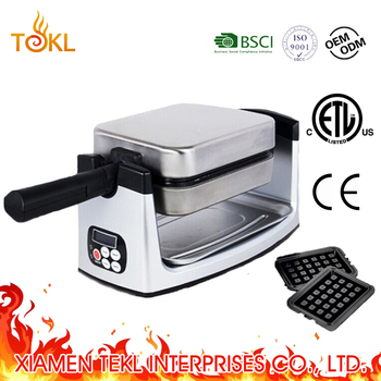 Portable Rotary Electric Rectangle Egg Waffle Maker Square Waffle Stick Maker with Interchangeable Plate as seen on TV