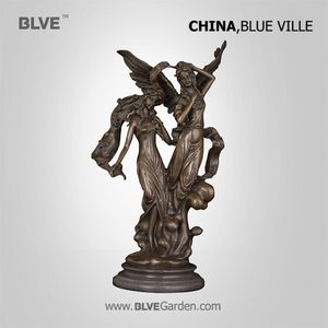 western customized best selling antique cast metal bronze ladies and bird sculpture BRZ-180