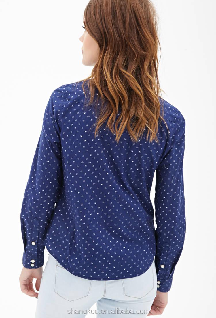 Shirt design china - Long Sleeve Printed Shirt For Women Women Casual Check Shirt Design Women Shirt Cutting