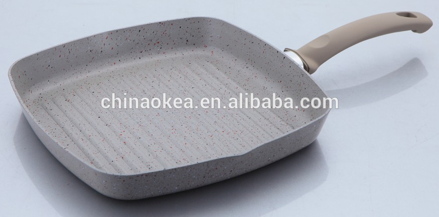 Sartenes Para Cocinar Sin Aceite | Parrilla Sarten Con Mango De Silicona Revestimiento De Marmol Para