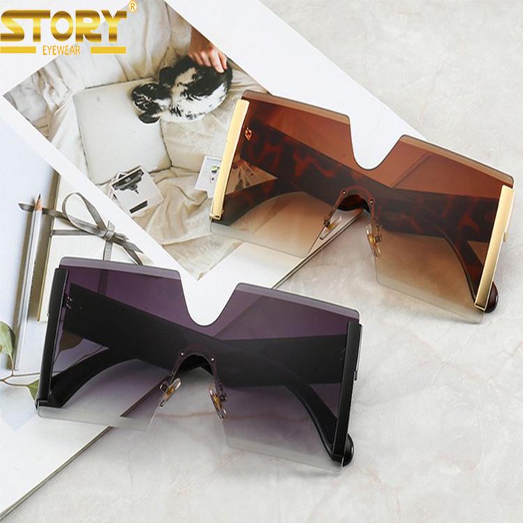 STY6931G big frame women fashion sunglasses oversized rimless luxury sunglasses women