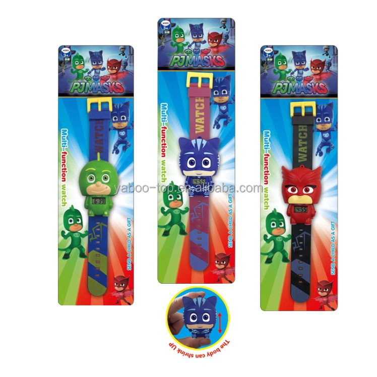 (Wholesale) New Arrival Plastic Cartoon PJ Mask Children Digital Watch , Kids PJ Mask Wrist Watches , 2017 Fashion Cartoon Watch