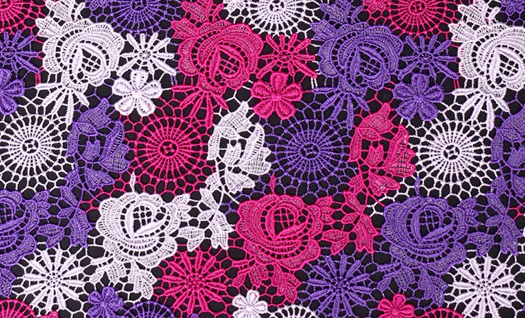 polyester colorful french guipure chemical lace fabric