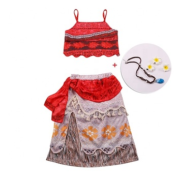 Halloween Princess Moana Costume Skirt Set Little Girls Cosplay Costume Fancy Party Cosplay Moana Dress up Outfits Costumes