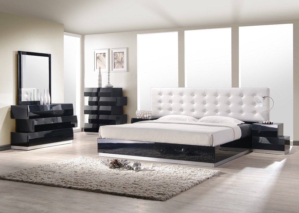 J&M Furniture Milan Black Lacquer With White Leatherette Headboard Bedroom Set- King Size