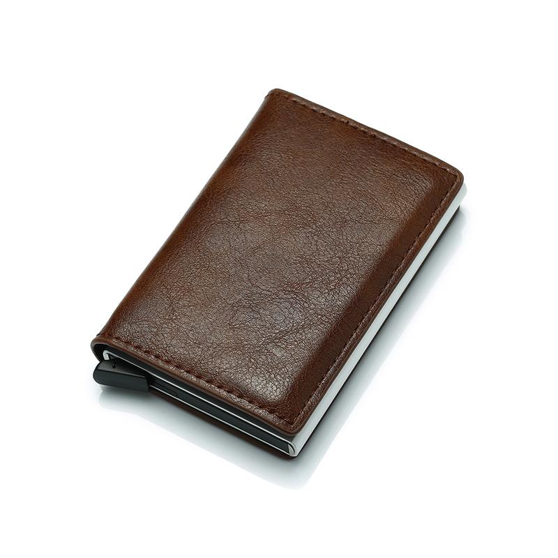 Pop Up PU Leather Metal Wallet RFID Blocking Automatic Aluminium Credit Card Holder Custom