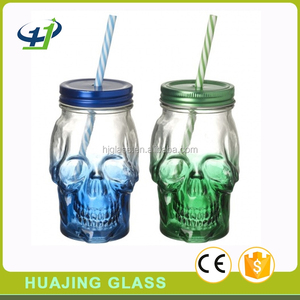 unique 450ml colored mason drinking jar 16oz glass skull jars with straw and lid