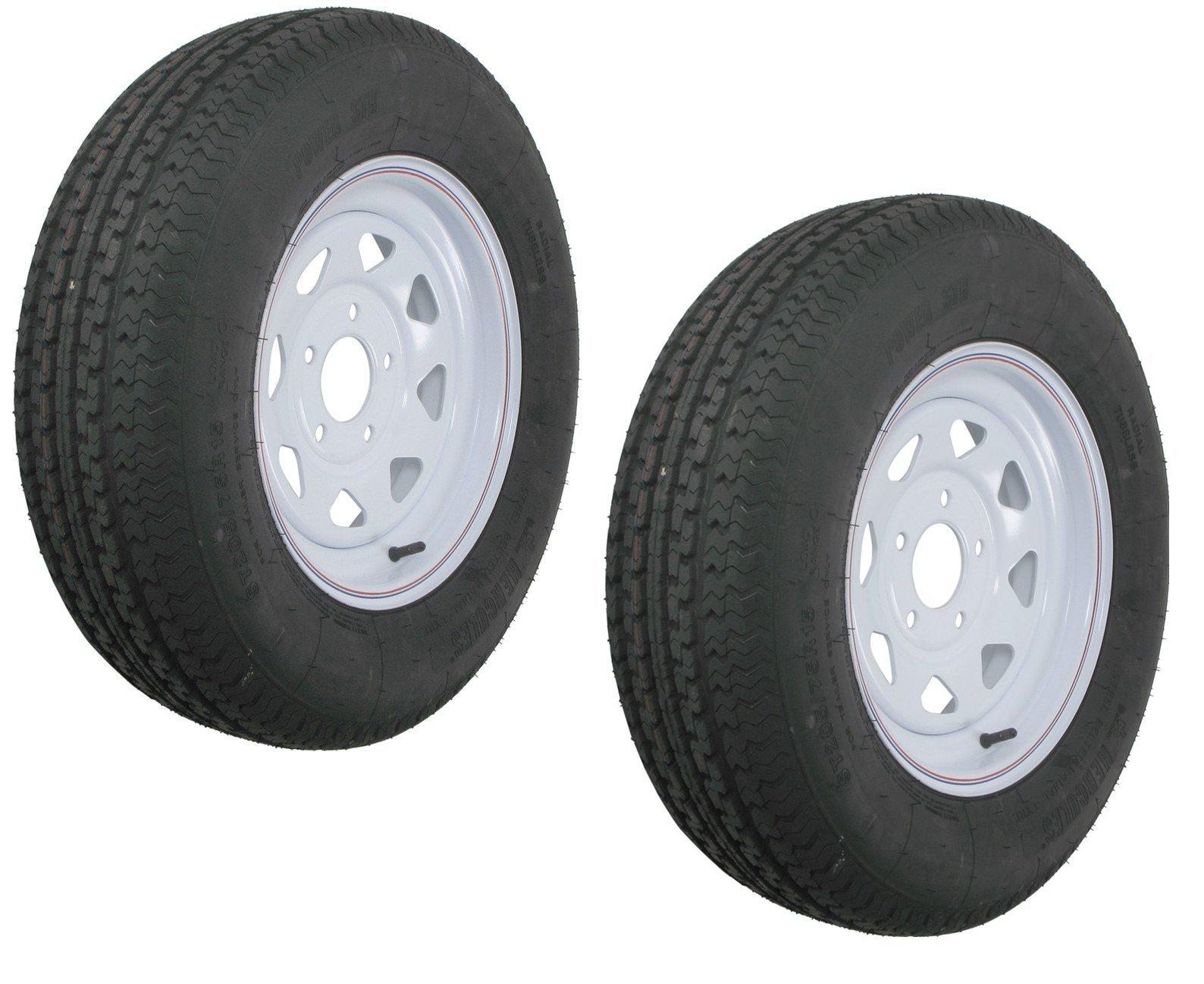 """eCustomRim 2-Pack Kenda K550 Radial Trailer Tire & Rim ST205/75R-15 C 5 on 5"""" White Spoke"""
