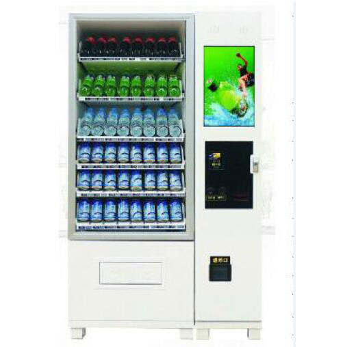 Combo snack and drink vending machine with LCD monitor